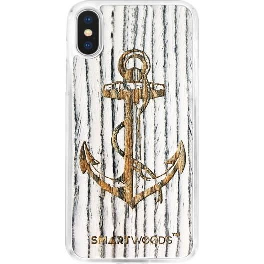 Husa telefon smartwoods Case din lemn Case Anchor Iphone Clear X